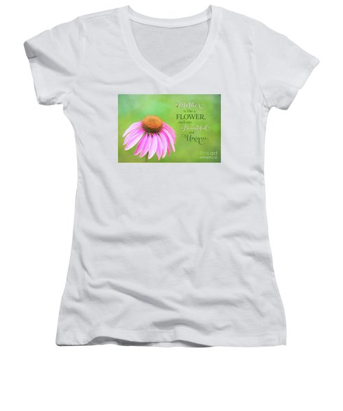 A Mother Is Lke A Flower Women's V-Neck