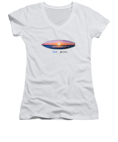 A Purple Orange Majestic Sunset For T-shirts Women's V-Neck