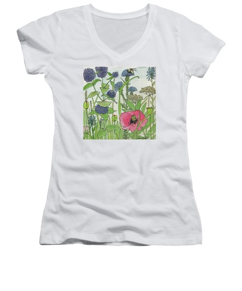 A Single Poppy Wildflowers Garden Flowers Women's V-Neck