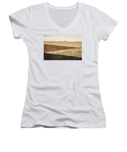 Abstract Landscape In Earth Tones Women's V-Neck