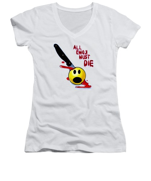 All Emoji Must Die Women's V-Neck (Athletic Fit)