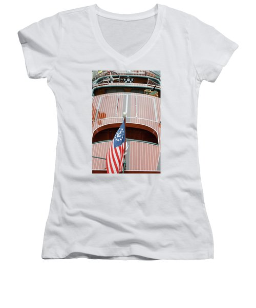 Antique Wooden Boat With Flag 1303 Women's V-Neck