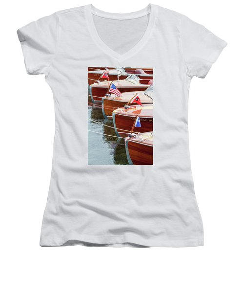Antique Wooden Boats In A Row Portrait 1301 Women's V-Neck