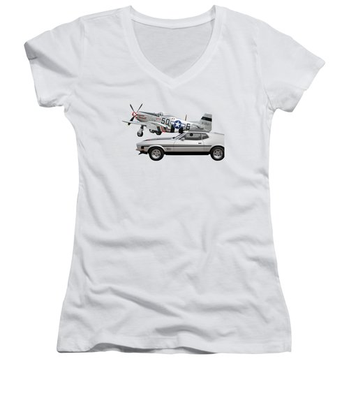 Mach 1 Mustang With P51  Women's V-Neck