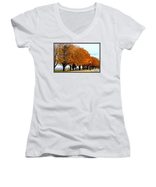 Autumn Leaves In Menominee Michigan Women's V-Neck