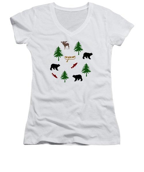 Bear Moose Pattern Women's V-Neck