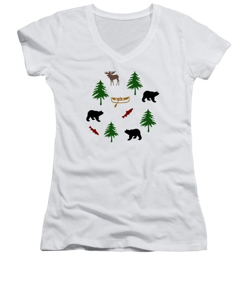 Bear Moose Pattern Women's V-Neck