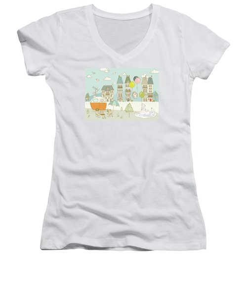 Women's V-Neck featuring the painting Bears And Mice Outside The City Cute Whimsical Kids Art by Matthias Hauser