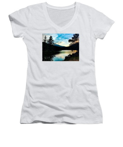 Women's V-Neck featuring the photograph Beaver Brook Lake by Dan Miller