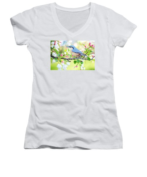 Blue Orange Bird Women's V-Neck