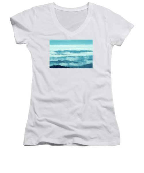 Blue Ridge Mountains Layers Upon Layers In Fog Women's V-Neck