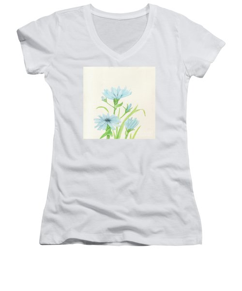 Blue Wildflowers Watercolor Women's V-Neck
