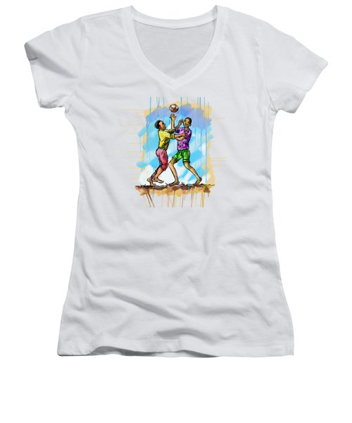 Boys Playing With A Ball Women's V-Neck
