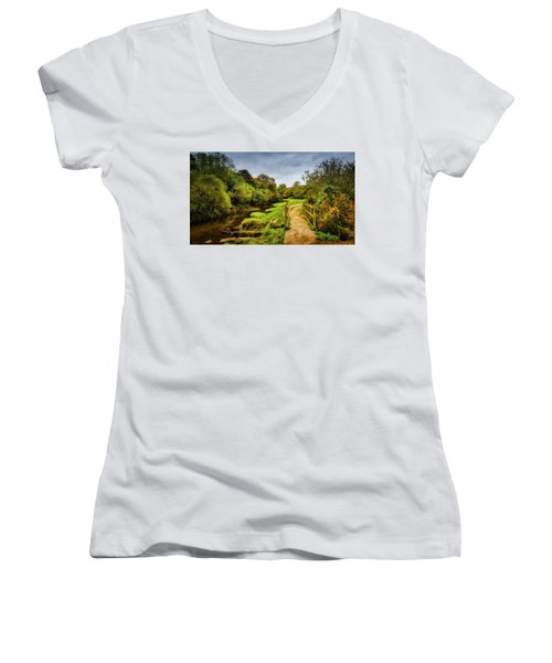 Bridge With Falling Colors Women's V-Neck