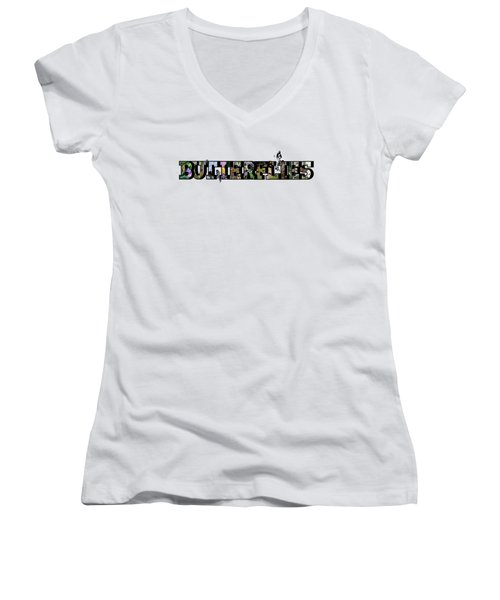 Butterflies Large Letter Women's V-Neck