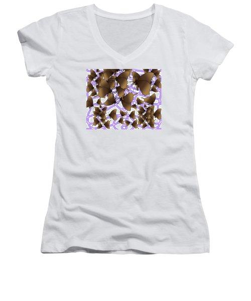 Butterfly Patterns 12 Women's V-Neck (Athletic Fit)