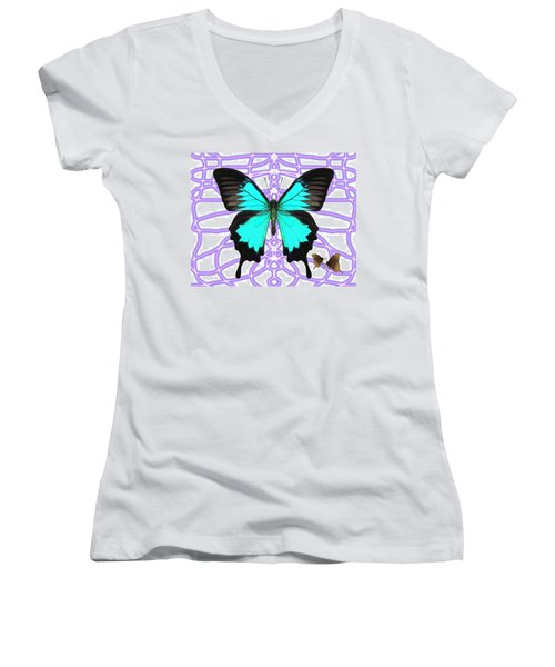 Butterfly Patterns 18 Women's V-Neck (Athletic Fit)