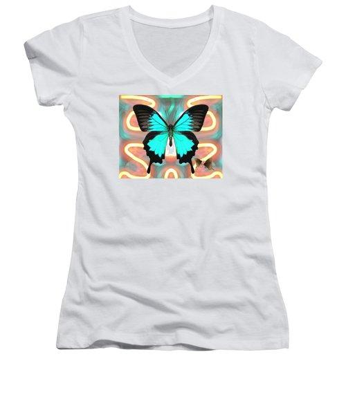 Butterfly Patterns 21 Women's V-Neck (Athletic Fit)