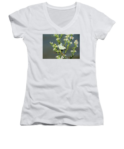 Cabbage White Butterfly On Flowers Women's V-Neck