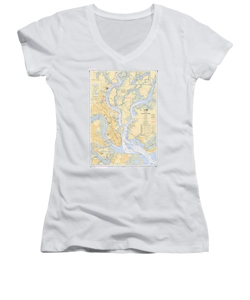 Charleston Harbor, Noaa Chart 11524 Women's V-Neck