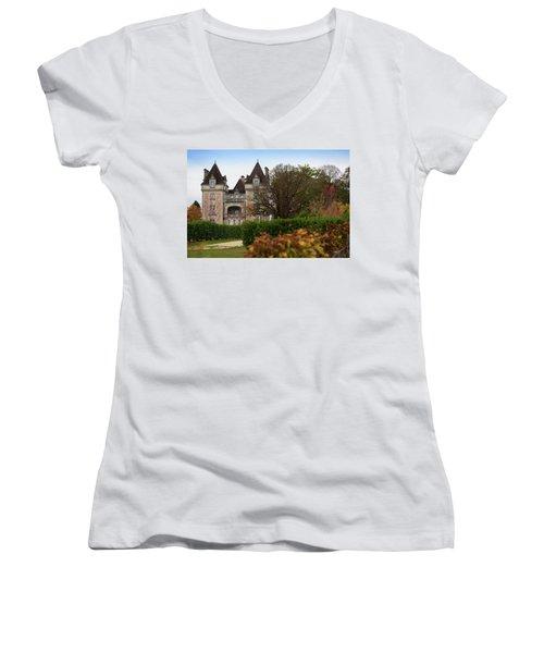 Chateau, Near Beynac, France Women's V-Neck