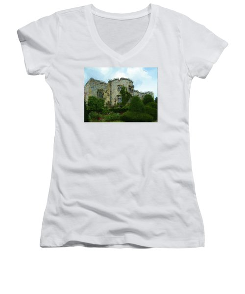 Chirk Castle Painting Women's V-Neck