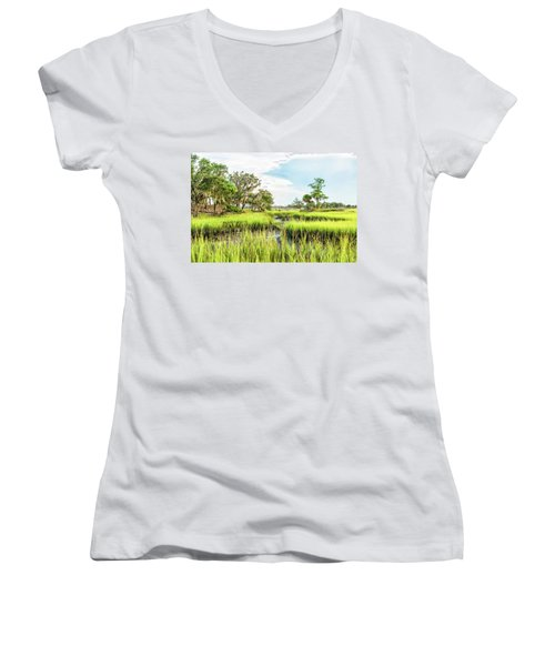 Chisolm Island - Marsh At Low Tide Women's V-Neck