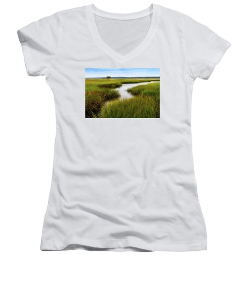 Women's V-Neck featuring the photograph Choate Is. Estuary Ipswich Ma. by Michael Hubley