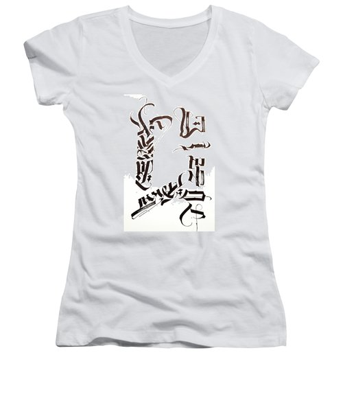 Cipher. Calligraphic Abstract Women's V-Neck (Athletic Fit)