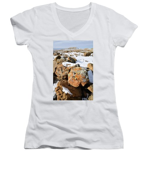 Colorful Lichen Covered Boulders In Book Cliffs Women's V-Neck