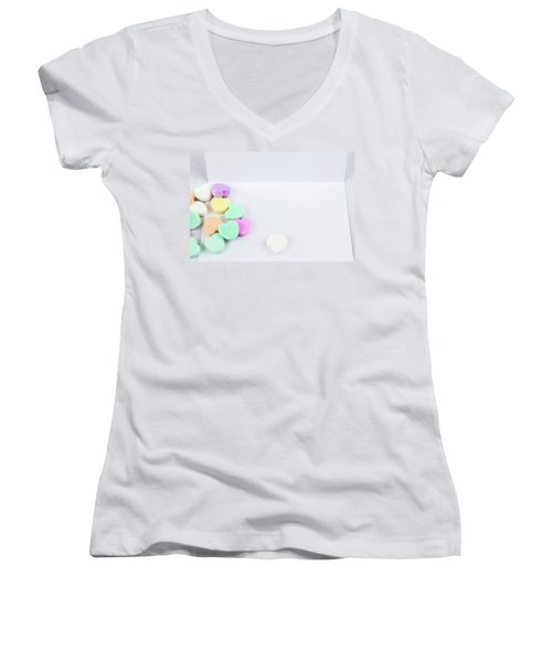 Conversation Hearts On A Notecard Women's V-Neck