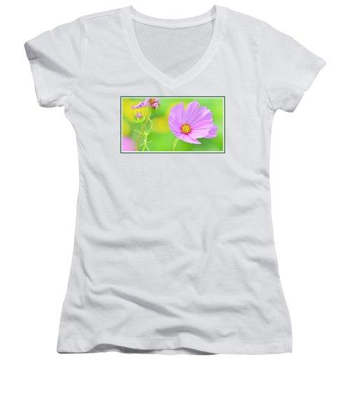 Cosmos Flower In Full Bloom, Bud Women's V-Neck