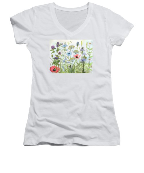 Cottage Garden Flowers Bees Nature Art  Women's V-Neck