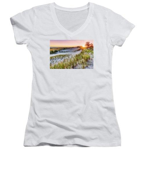 Women's V-Neck featuring the photograph Crane Beach, Dune Grass Sunrise  by Michael Hubley