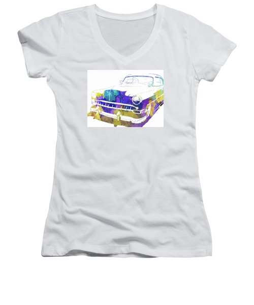Custom 1954 Chevy Abs Inv Women's V-Neck