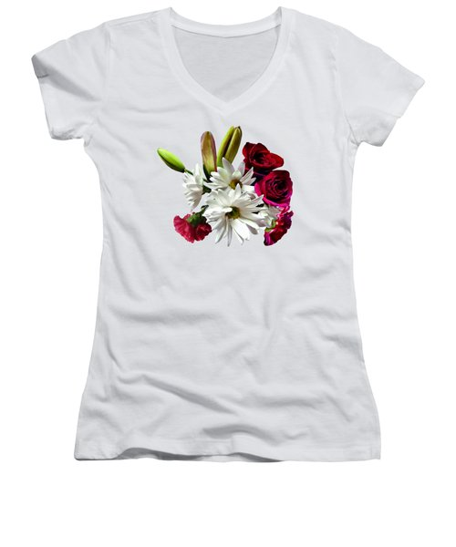 Daisies, Roses And Carnations Women's V-Neck