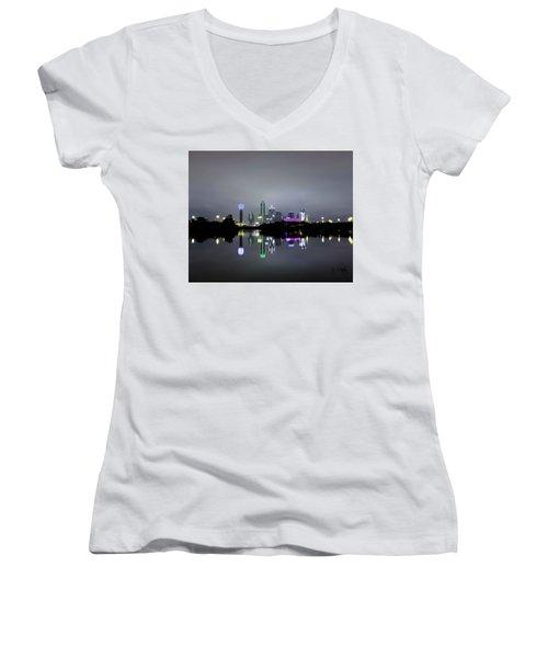 Dallas Texas Cityscape River Reflection Women's V-Neck
