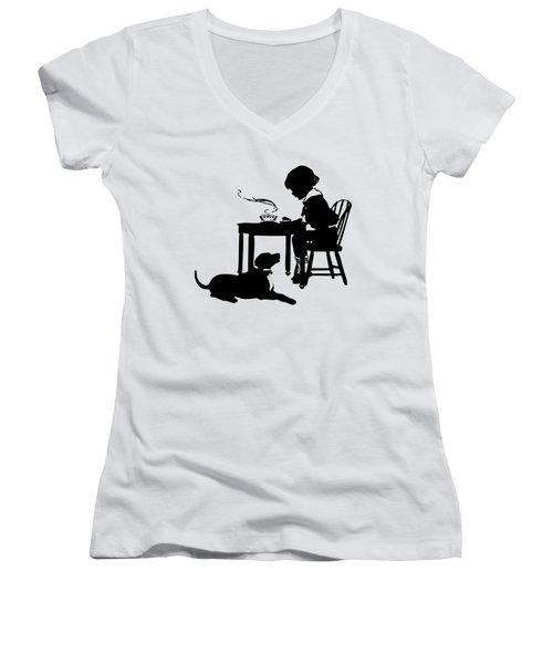 Dining With The Dog Silhouette Women's V-Neck