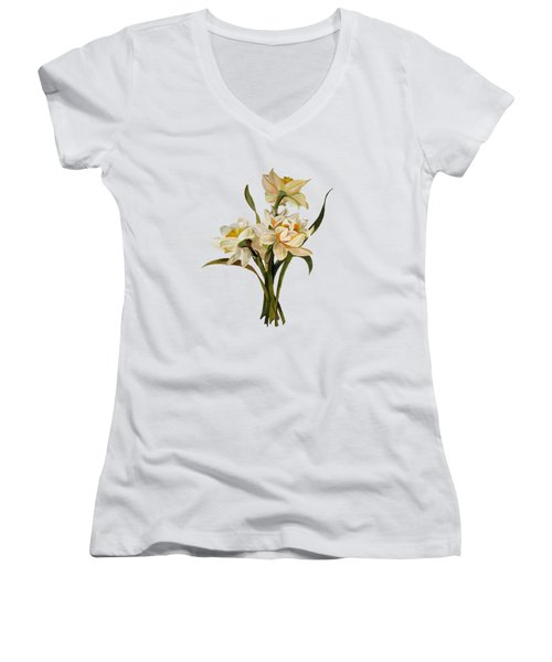 Double Narcissi Spring Flower Bouquet  Women's V-Neck