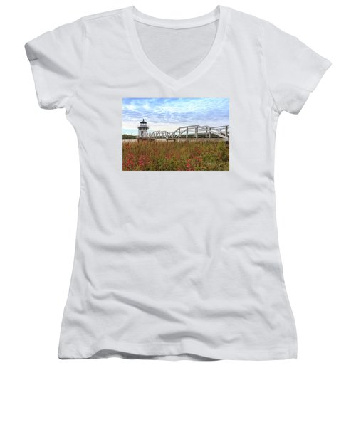 Doubling Point Lighthouse In Maine Women's V-Neck