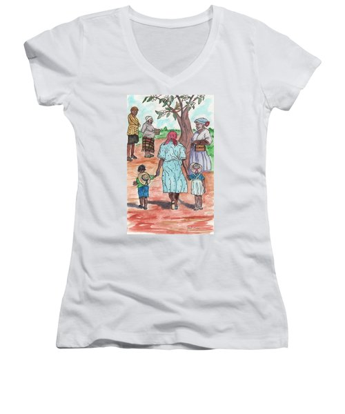 Down The Red Road And Past The Magnolia Tree Women's V-Neck