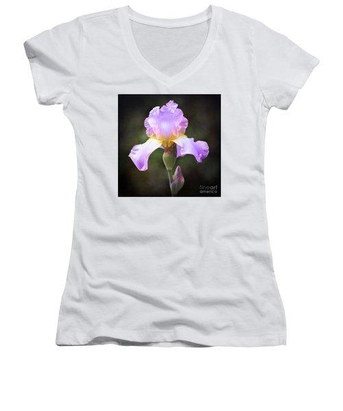 Dramatic Purple Iris Women's V-Neck