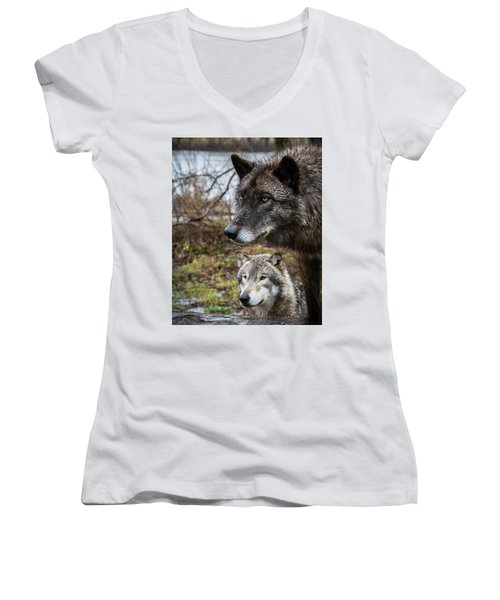 Dual Wolves Women's V-Neck