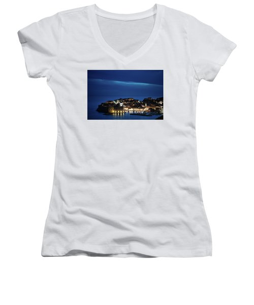 Dubrovnik Old Town At Night Women's V-Neck