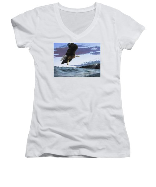 Eagle In Flight Women's V-Neck