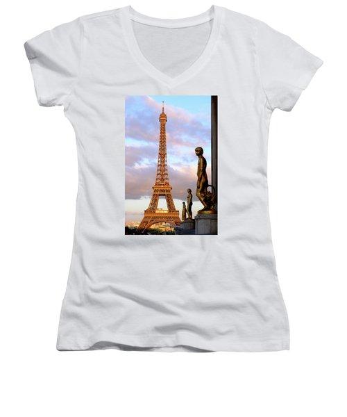 Eiffel Tower At Sunset Women's V-Neck