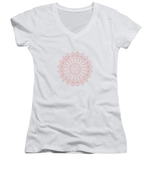 Elegant Rose Gold Mandala Burgundy Purple Women's V-Neck