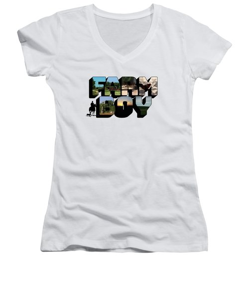 Farm Boy Big Letter Women's V-Neck