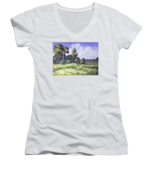 Farm Country Sketch Women's V-Neck