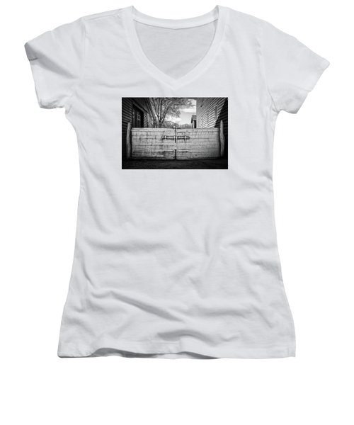 Women's V-Neck featuring the photograph Farm Gate by Steve Stanger